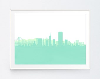 Mint San Francisco Wall Art, Spring Home Decor, San Francisco Art Print, Mint Green Art, San Francisco Modern Minimalist, INSTANT DOWNLOAD
