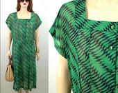 Vintage 50's Dress Large Vintage Housewife Dress Large Rockabilly Dress Large Green and Black Dress Mid Century Dress Sheer Dress 40's Dress