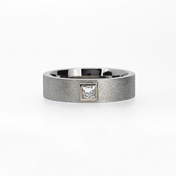 scratched palladium wedding band with 0 15ct by