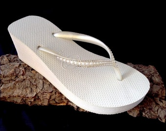Custom White Havaianas High Wedge Heel Flip Flops 2.5 w/ Swarovski Crystal Rhinestone Pearl Sophisticate Ivory Wedding Bling Bridal Shoes