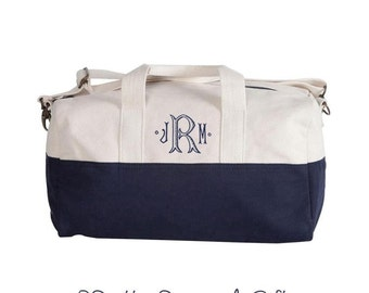 Duffle Bag  - SMALL Monogrammed Navy Duffle