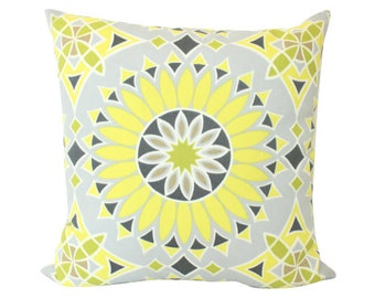Outdoor Pillow -- Schumacher Soleil LA Yellow and Grey Trina Turk Pillow Cover