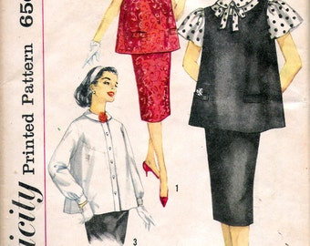"Vintage 1959 Simplicity 3276 Three Piece Maternity Outfit Sewing Pattern Size 12 Bust 32"" UNCUT"