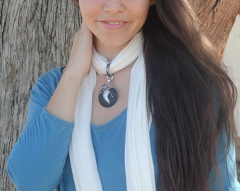 Chakra Healing Hemp Scarf Necklace with a Lava, Hematite and Aquamarine Pendant  - Gift for her