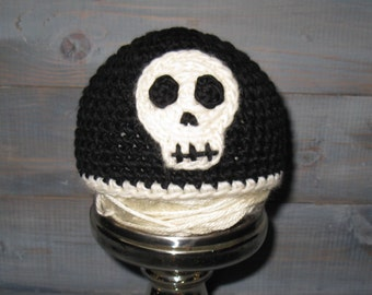Newborn Black Skull Crochet Hat