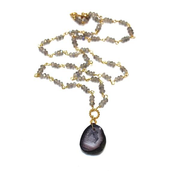 Geode Necklace Geode Jewelry Druzy Necklace Celebrity Style Boho Style Celebrity Jewelry Druzy Necklace Raw Crystal Necklace Druzy Jewelry