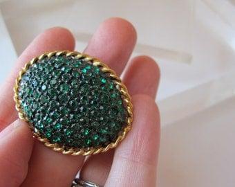 1950's Japanned Emerald Rhinestone Pave Set Oval Bombe Shaped Brooch Pin/ Emerald Egg Pin/ Weiss Style Rhinestone Jewelry Mid Century Era