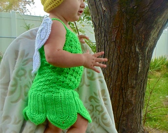Crochet Fairy Costume Green Woodland Tinkerbell Inspired Costume Outfit Photo Prop