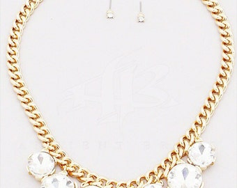 """Gold """"Fancy Girl"""" Crystal Chunky Chain Necklace"""