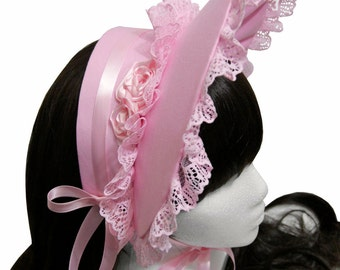 Sweet Pink Gothic and Lolita Lace and Roses Bonnet - Made to Order