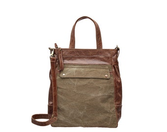 Waxed canvas tote bag - Waxed canvas backpack - Convertible leather bags -  ARTE bag