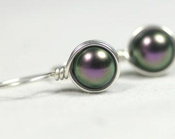 Purple Pearl Earrings Wire Wrapped Jewelry Handmade Sterling Silver Jewelry Handmade Swarovski Pearl Earrings Iridescent Pearl Drop Earrings