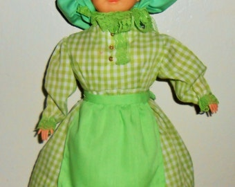 Vintage Doll, Soap Bottle Doll, Green Gingham, Granny, Lime Green, Country Decor, Farm House