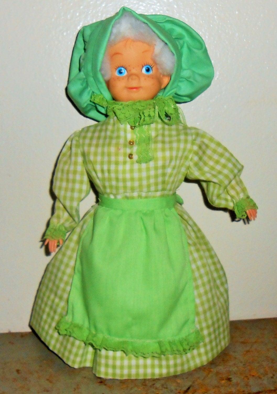 Vintage Doll Soap Bottle Doll Green Gingham Granny Lime