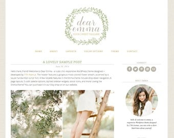 "Wordpress Theme Premade Blog Template Design - ""Emma"" Instant Digital Download"