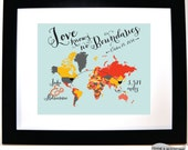 Love knows no distance couple anniversary valentines day gift for boyfriend girlfriend deployment military couple long distance custom map
