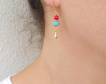 Turquoise and coral earrings, Turquoise and gold earrings