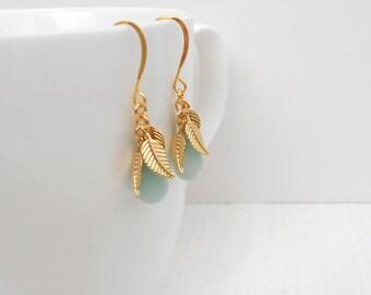 Amazonite earrings, Mint green earrings, Gold leaf earrings