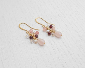 Cluster earrings, Multi gemstone earrings, Pink drop earrings