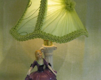RESERVED FOR DAVE Vintage Small Boudoir Lamp, Blonde Lady in Purple Dress, Rewired, Unmarked, Green Shade Included