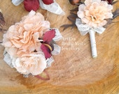 Wedding rustic accessory kit, romantic fascinator and  corsage, groom Boutonniere, Rustic set, brides head piece,