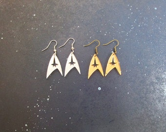 Star Trek Enterprise Starfleet Command Insignia Logo Earrings in Gold OR Silver Hypoallergenic Option