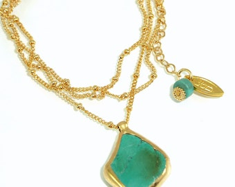 Turquoise Necklace, Women Gift, December Birthstone,  Delicate 24k Gold  Necklace, Raw Turquoise Gold necklace, Gemstones Necklace.