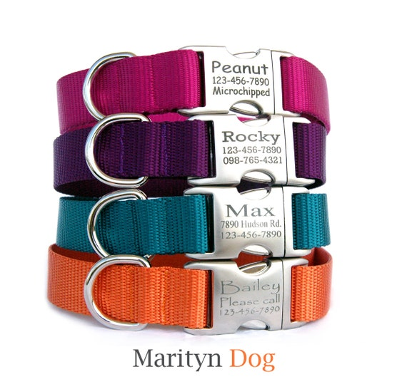 Personalized ID dog collar dog leash Jewel tone solid nylon laser engraved metal buckle dog collar for small dog large dog girl dog boy dog