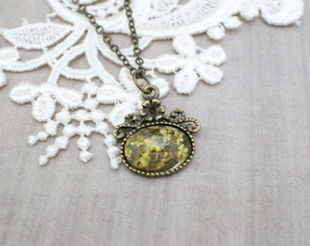 Victorian Inspired Necklace with Real Flowers - Antique Bronze