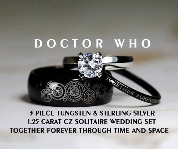 doctor who his 8mm tungsten and hers 4mm 925 by cloud9tungsten