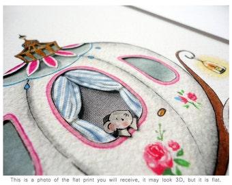 Princess Carriage, UNFRAMED Girl's Picture, Nursery Art, Princess Theme, Modern, Fairy tale Theme, Girl's Bedroom Print, Baby Girl Gift