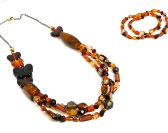 Brown Butterfly Mix Beaded Jewelry Set