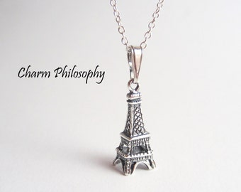 Eiffel Tower Necklace - 925 Sterling Silver Paris Jewelry - French Jewelry