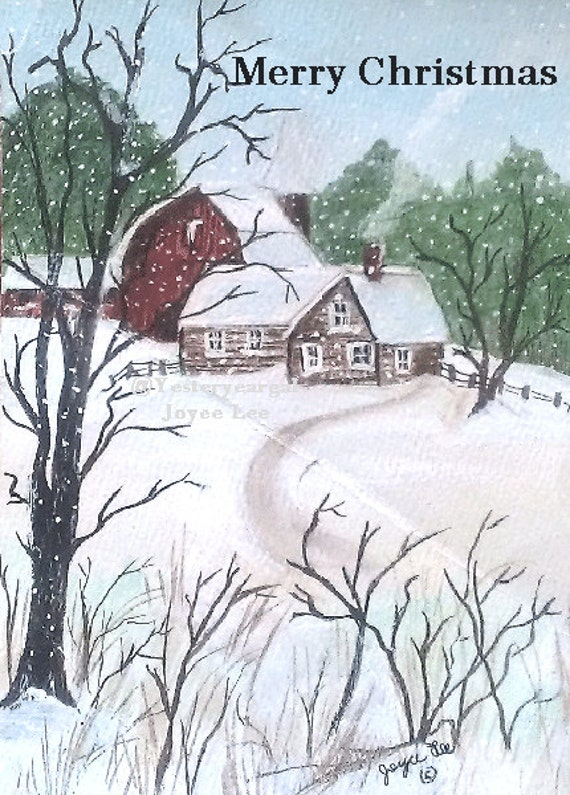 Christmas Cards     In sets of five . . .  From my painting Called Country Life