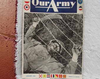 WWII January 1943, Vol.  No.XV Scarce Publication of Our Army Magazine.