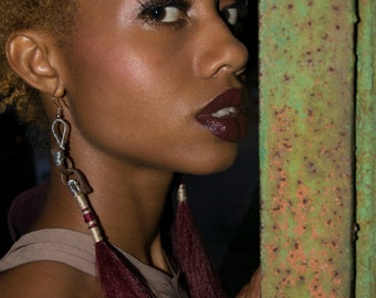 Human Hair Oxblood Earrings