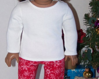 Red and White Snowflake Flannel PJ pants and Shirt - fits 18 inch Dolls