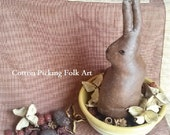 A Faux Chocolate Easter Rabbit Bowl Filler Scented,  Wax  Eggs, Dried Cotton Plant Hulls,Potpourri, Rosehips, Other Dried Botanicals