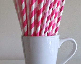 Pink Striped Paper Straws Dark Pink, Pink, Light Pink, Pale Pink Party Supplies Party Decor Bar Cart Cake Pop Sticks Graduation