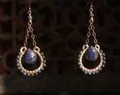 s u e n o ~ blue sapphire | 14k gold fill earrings