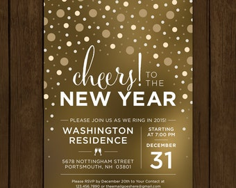 Custom New Years Eve Invitation. Cheers to the New Year. New Years Eve Party Invitation. Confetti Party Printable. NYE 2016 Party Invite.