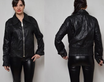 Vintage 70's  Black Leather Zipper Jacket