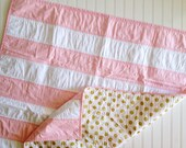 Pink Gold Stripe Baby Quilt- Gold Polka Dot and Stripe Quilt- Modern Baby Girl Quilt- Glitz Baby