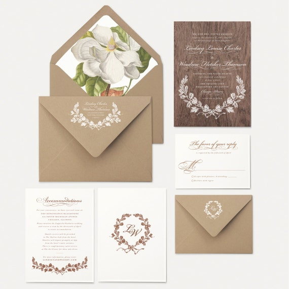 Wood wedding invitations southern magnolia tree by for Magnolia tree wedding invitations