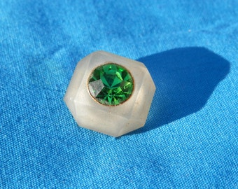 Vintage Green Rhinestone Button