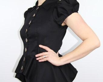Short puff sleeve black shirt , black peplum shirt, steampunk clothing, women short sleeve shirt