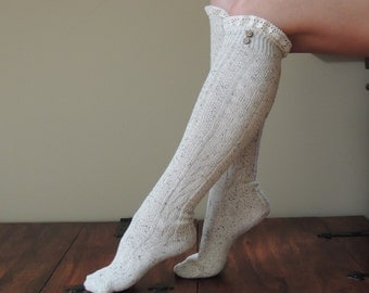 Knee High Boot Socks with Lace and Buttons