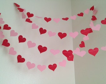 Valentines Day Decorations 10ft Red and Pink Heart Garland Paper Garland Happy Valentines Day Birthday Party Decor Photo Prop 10Ft Strand