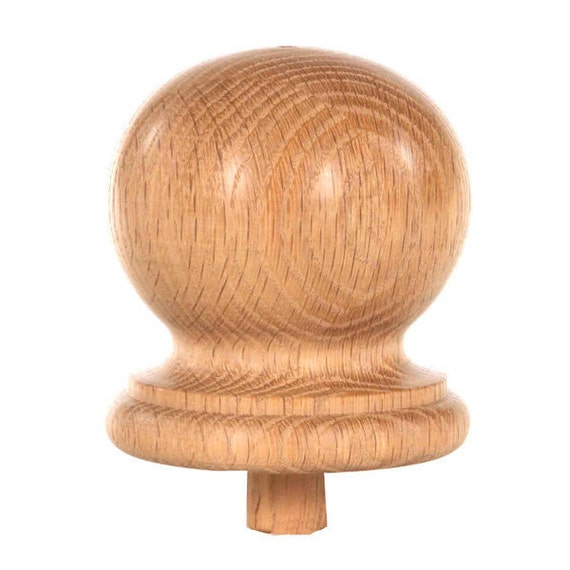 Round Staircase Finial Newel Post Cap FN-0103 Red Oak Wood