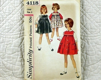 Girls, Jumper Blouse, XS, Simplicity 4118 Pattern, Front Button, Peter Pan Collar, Gathered to Yoke, Square Collar, 1961 Uncut, Size 3